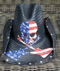 BMB Crossed Guitars Cowboy Hat (Red/White/Blue)