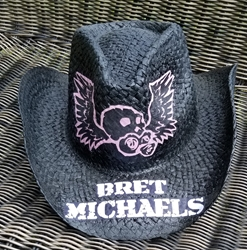 Bret Michaels Pink Winged Skull Cowboy Hat