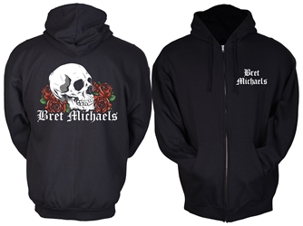 Bret Michaels Skull & Roses Hoodie (name only front)