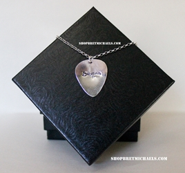 Bret Michaels Sterling Silver Signature Regular Guitar Pick Necklace