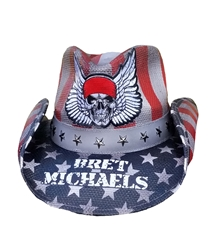 Bret Michaels Winged Skull Logo Cowboy Hat (Red, White, Blue, Black) Bret Michaels, Winged Skull Logo, Cowboy Hat