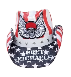 Bret Michaels Winged Skull Logo Cowboy Hat (Red, White, Blue, Plain) Bret Michaels, Winged Skull Logo, Cowboy Hat