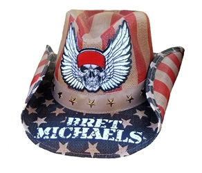 Bret Michaels Winged Skull Logo Cowboy Hat (Red, White, Blue, Tea Stained) Bret Michaels, Winged Skull Logo, Cowboy Hat