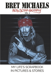 HARDCOVER Bret Michaels Auto-scrap-ography My Lifes Scrapbook in Pictures and Stories  Hardcover, Bret Michaels, Brett Michaels, Bret Micheals, Brett Micheals, Book, Autobiography, pictures and stories, auto-scrap-ography, autoscrapography
