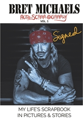 SIGNED HARDCOVER Bret Michaels Auto-scrap-ography My Lifes Scrapbook in Pictures and Stories  Hardcover, Bret Michaels, Brett Michaels, Bret Micheals, Brett Micheals, Book, Autobiography, pictures and stories, auto-scrap-ography, autoscrapography