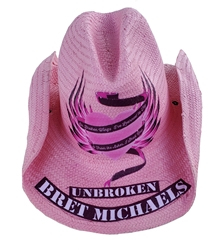 Unbroken Winged Skull Pink Cowboy Hat Bret Michaels, Winged Heart, Unrboken, Cowboy Hat