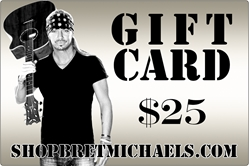 ShopBretMichaels.com Gift Certificate - $25 Bret Michaels, Brett Michaels, Bret Micheals, Brett Micheals, LIfestyle, Style, Life, Collection, Home, Inspiration, gifts, apparel, shirts, stationary, post cards, posters, photos